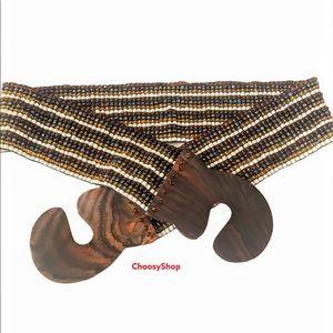 Wide Beaded Stretch Puzzle Clasp Belt SW Boho EUC